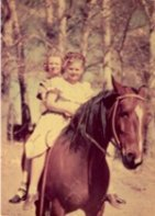 Best friends on horseback 1945