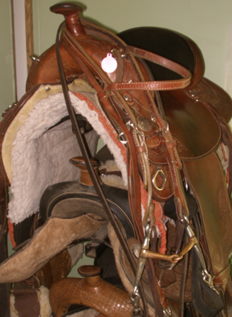 Tack or Gear is the horse term for saddles, bridles and such