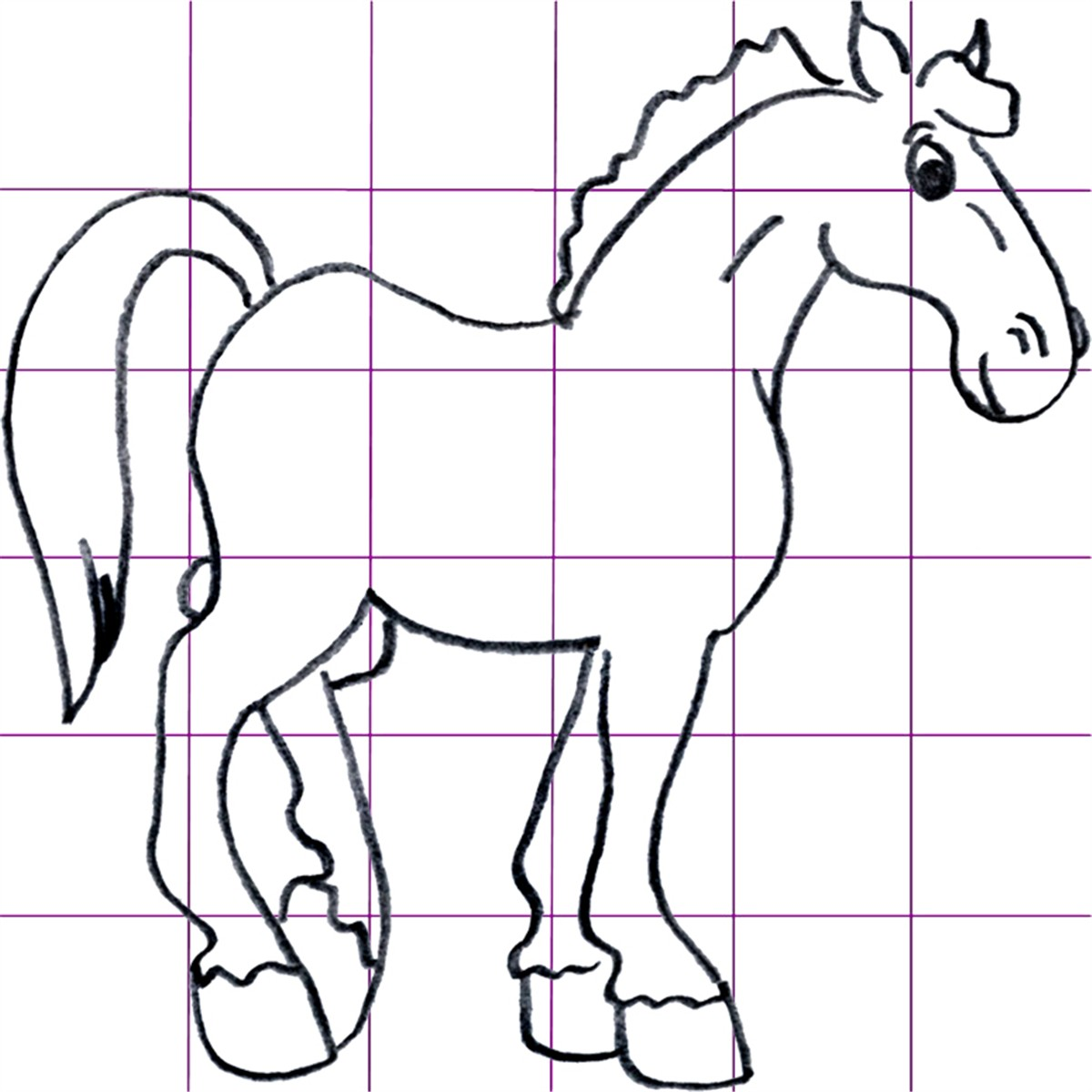 draw cartoon horses step by step