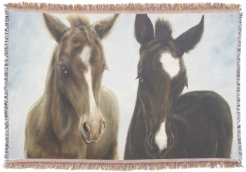 Two Foals Throw Blanket