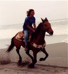 Riding a horse at a gallop