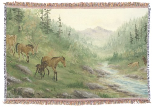Mountain Horses Throw Blanket