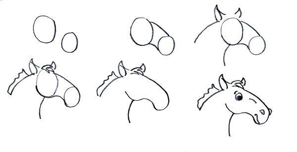 Draft style cartoon horse head