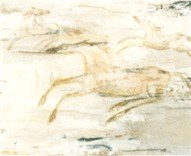 Modern art mimicking a primitive horse drawing